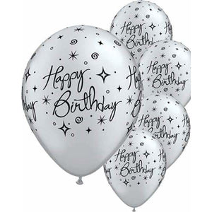 Happy Birthday Silver Elegant Sparkle Latex Balloons 6ct - mypartymonsterstore