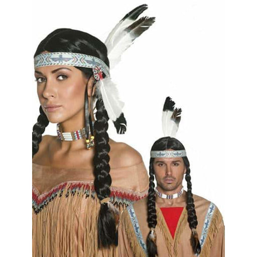 Wild West Indian Wig With Feather Headband