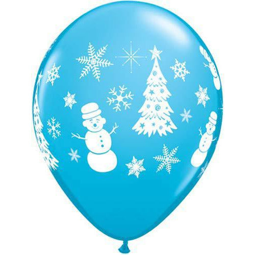 Festive Winter Scene Christmas Latex Balloons 6pk