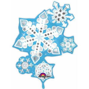Frosty Snowflake Cluster Supershape Balloon