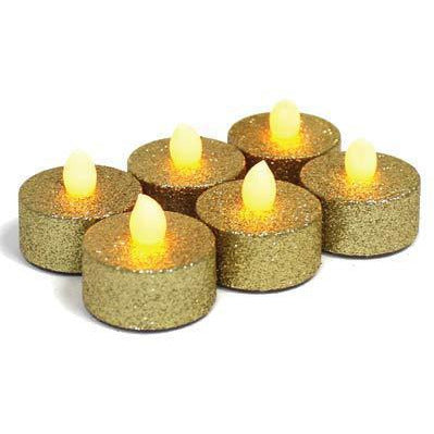Gold Glitter LED Candles
