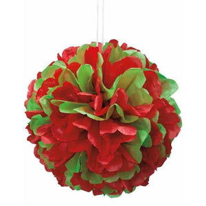 Red & Green Puff Ball Hanging Decoration