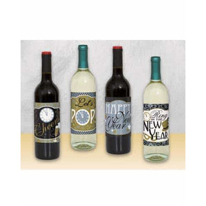 New Year Wine Bottle Labels x4 - mypartymonsterstore