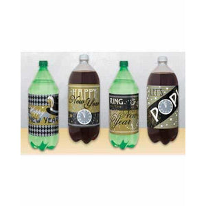 New Year 2L Bottle Labels x4 - mypartymonsterstore