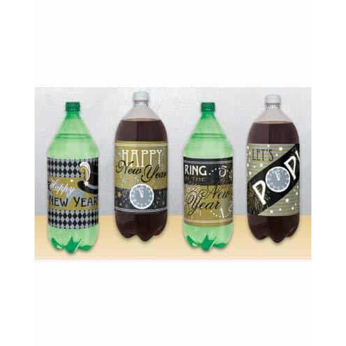 New Year 2L Bottle Labels x4
