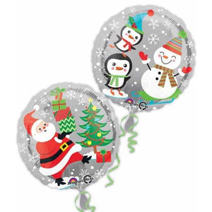 Santa Snowman & Penguin 2 Sided Foil Balloon - mypartymonsterstore