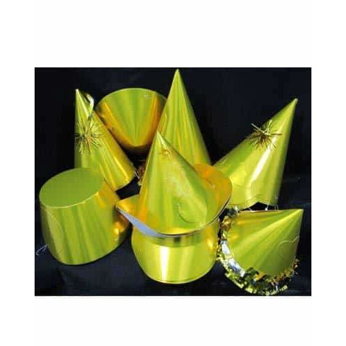 Gold Foil Party Hats Assorted x20