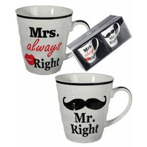 Mr And Mrs Right Porcelain Mugs Set - mypartymonsterstore