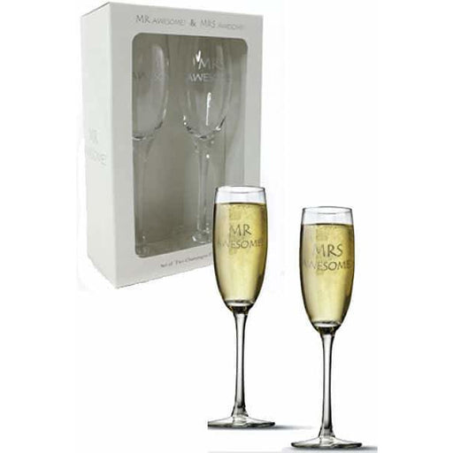 Mr And Mrs Awesome Champagne Flutes