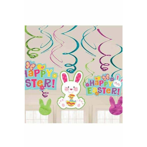 Easter Bunny Hanging Swirll Decorations 12pk