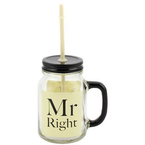 Mr Right Mason Drinking Jar Glass