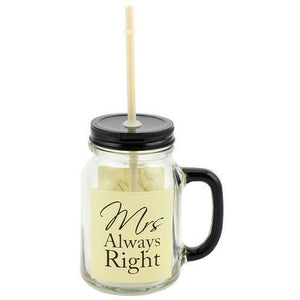 Mrs Always Right Mason Drinking Jar Glass