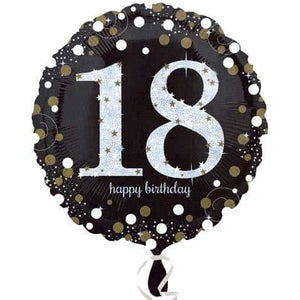 Gold And Black 18th Birthday Foil Balloon - mypartymonsterstore