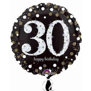 Gold And Black 30th Birthday Foil Balloon