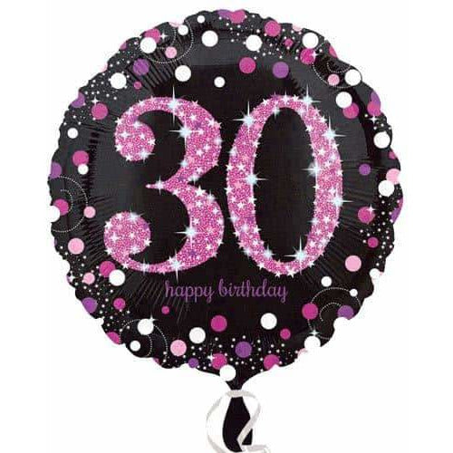 Pink And Black 30th Birthday Foil Balloon