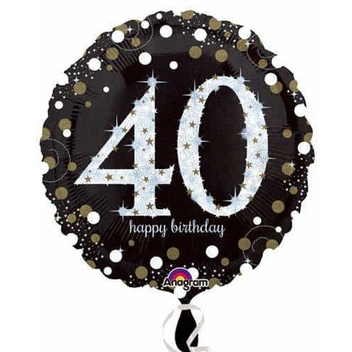 Gold And Black 40th Birthday Foil Balloon