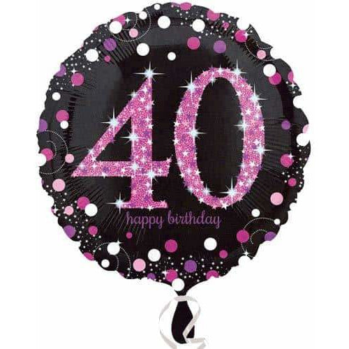 Pink And Black 40th Birthday Foil Balloon