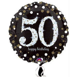 Gold And Black 50th Birthday Foil Balloon