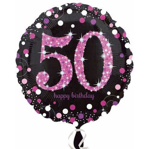 Pink And Black 50th Birthday Foil Balloon