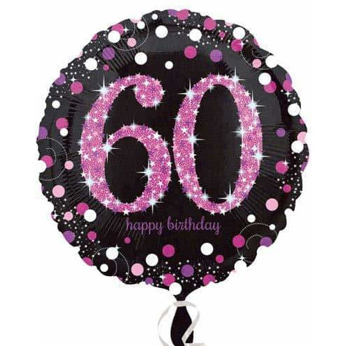 Pink And Black 60th Birthday Foil Balloon