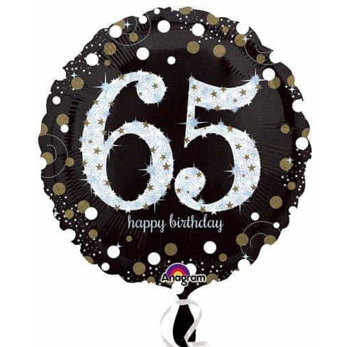 Gold And Black 65th Birthday Foil Balloon