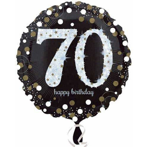 Gold And Black 70th Birthday Foil Balloon