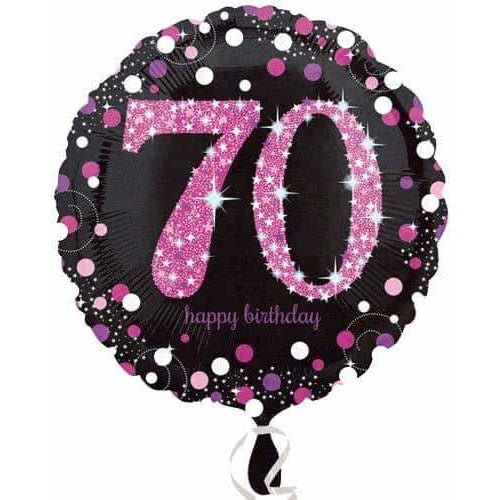 Pink And Black 70th Birthday Foil Balloon