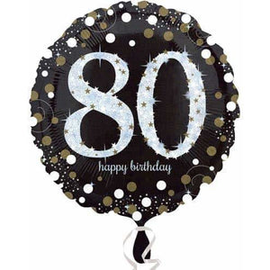 Gold And Black 80th Birthday Foil Balloon
