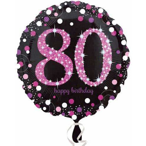 Pink And Black 80th Birthday Foil Balloon