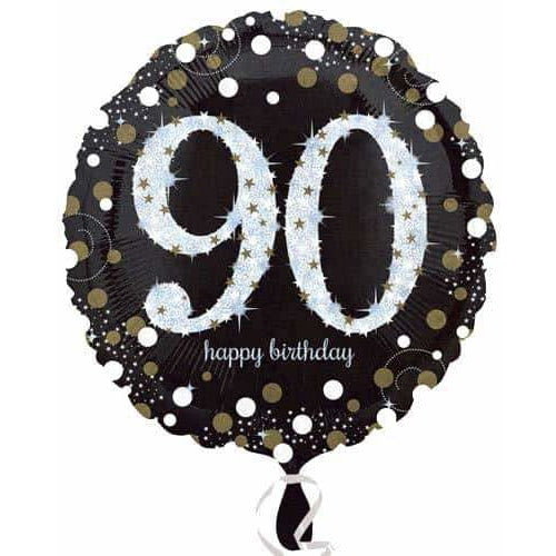 Gold And Black 90th Birthday Foil Balloon