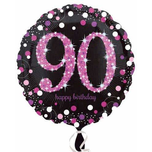 Pink And Black 90th Birthday Foil Balloon