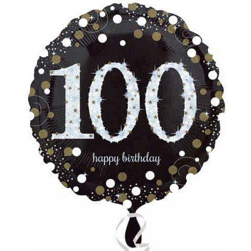 Gold And Black 100th Birthday Foil Balloon