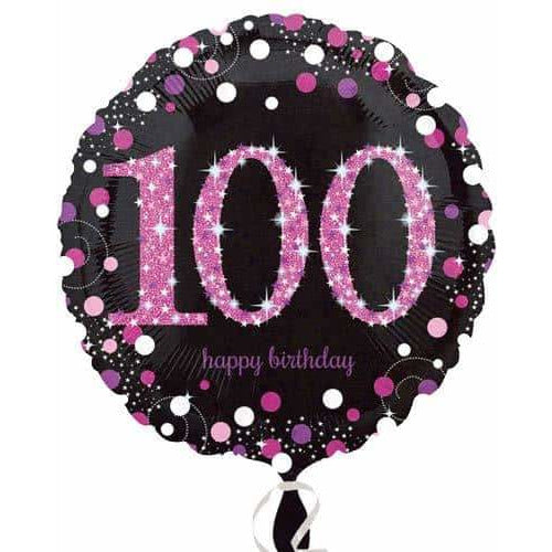 Pink And Black 100th Birthday Foil Balloon