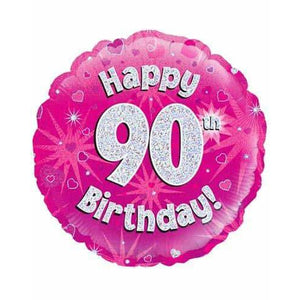 Happy 90th Birthday Pink Holographic Foil Balloon