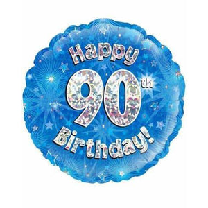 Happy 90th Birthday Blue Holographic Foil Balloon