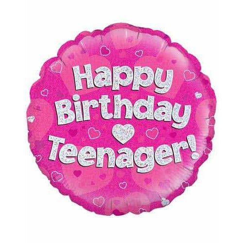 Happy Birthday Teenager Pink Holographic Foil Balloon
