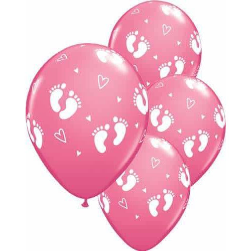 Rose Baby Footprints And Hearts Latex Balloons 6ct