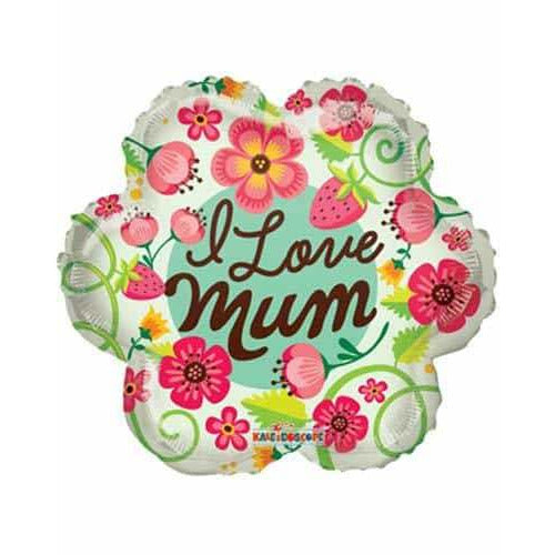 I Love Mum Flower Foil Balloon