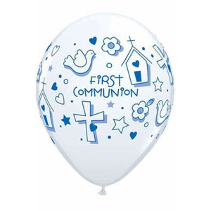 First Communion Boys Latex Balloons 25ct - mypartymonsterstore
