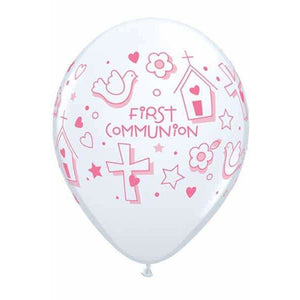 First Communion Girls Latex Balloons 25ct - mypartymonsterstore