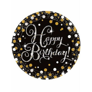 Gold Celebration Birthday Paper Plates 8pk - mypartymonsterstore