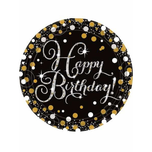 Gold Celebration Birthday Paper Plates 8pk
