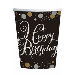 Gold Celebration Birthday Paper Cups 8pk - mypartymonsterstore