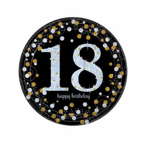 Gold Celebration 18th Birthday Paper Plates 8pk - mypartymonsterstore