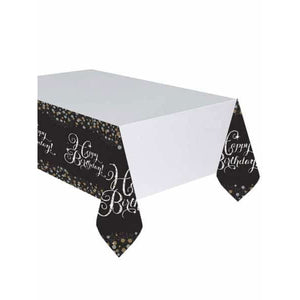 Gold Celebration Birthday Plastic Tablecover 1pk - mypartymonsterstore