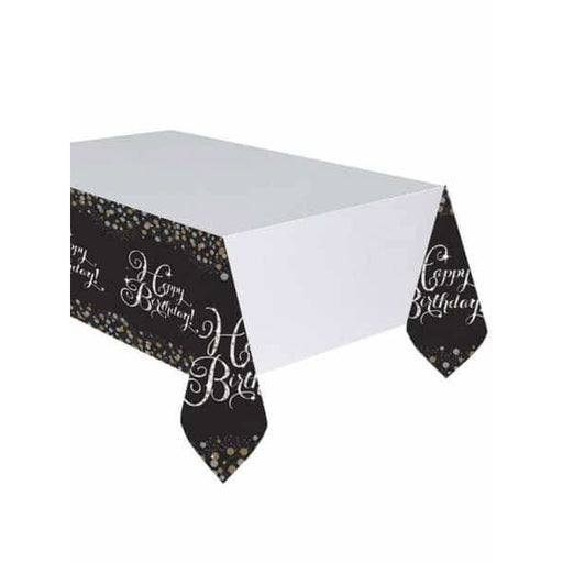 Gold Celebration Birthday Plastic Tablecover 1pk