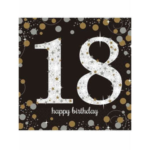 Gold Celebration 18th Birthday Lunch Napkins 16pk - mypartymonsterstore
