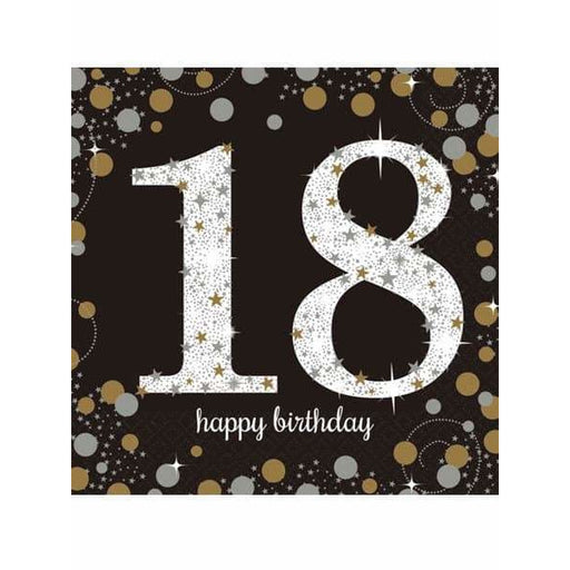 Gold Celebration 18th Birthday Lunch Napkins 16pk