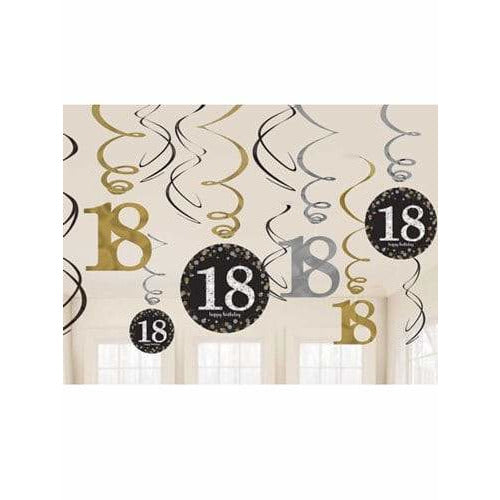 Gold Celebration 18th Swirl Decorations 12pk