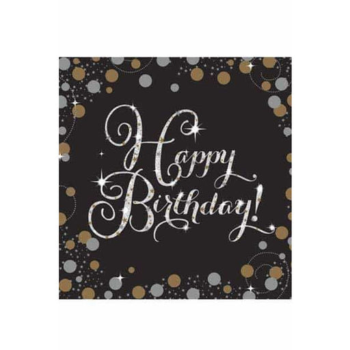 Gold Celebration Birthday Lunch Napkins 16pk